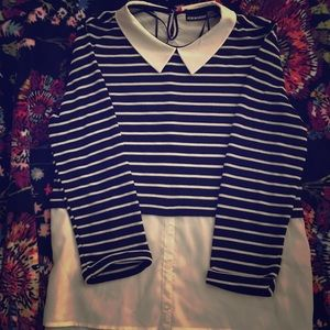 NEW- Black and White Striped Blouse